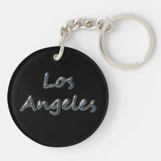 Beach Style Los Angeles - On Black Double-Sided Round Acrylic Keychain