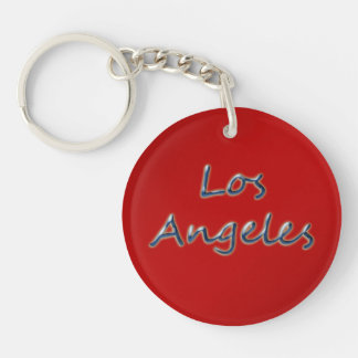 Beach Style Los Angeles - On Red Double-Sided Round Acrylic Keychain