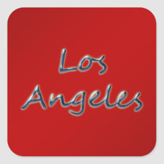Beach Style Los Angeles - On Red Square Sticker