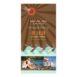 Beach Summer Cool Waves Brown Sun Save The Date Photo Greeting Card
