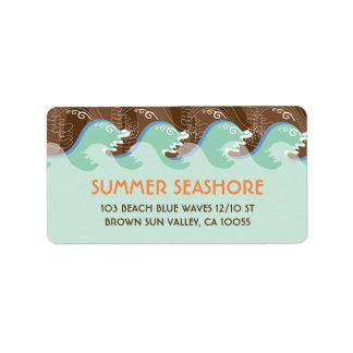 Beach Summer Cool Waves Brown Sun Wedding Labels