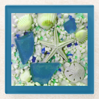Beach Summer Seashells Glass Coaster
