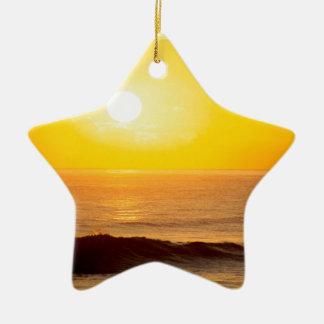 Beach Sun Kissed Waves Kauai Hawaii Double-Sided Star Ceramic Christmas Ornament