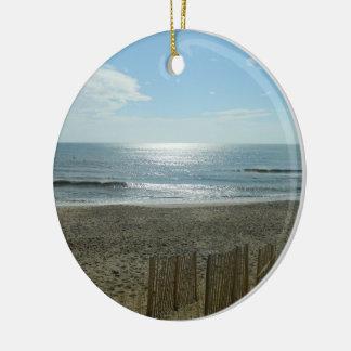 Beach Sun Rising Double-Sided Ceramic Round Christmas Ornament
