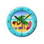 Beach Sun Sea and Surf Fun Medium Blue Round Clock