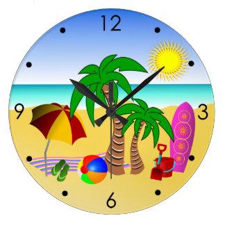 Beach Sun Sea Surf Blue Medium Large Wall Clocks