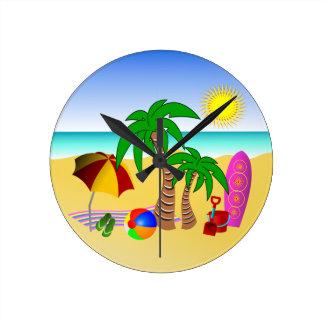 Beach Sun Sea Surf Medium Blue Round Wall Clocks