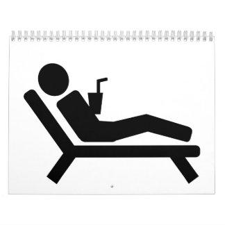 Beach sunchair drink calendar