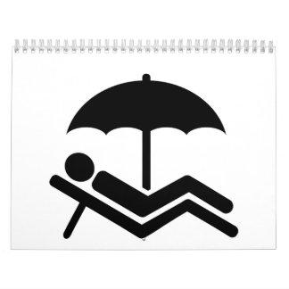 Beach sunchair umbrella calendar