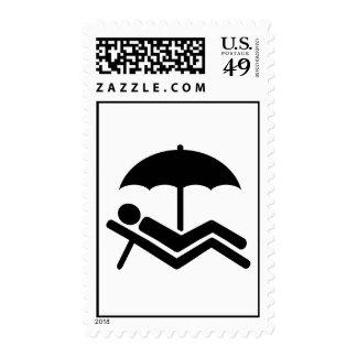 Beach sunchair umbrella postage stamps