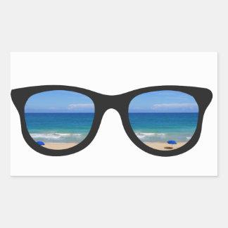 Beach Sunglasses Rectangular Sticker