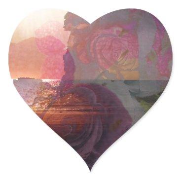 Beach Themed Beach sunlight and roses heart sticker