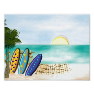 Beach Sunny Sea View Surf boards Poster Print
