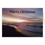 BEACH SUNRISE CHRISTMAS GREETING GREETING CARD