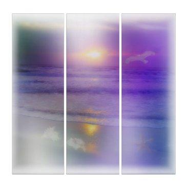 Beach Themed Beach Sunrise Lavender Peach seagull ocean art Triptych