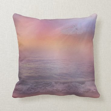 Beach Themed Beach Sunrise Lavender Peach seagull pillow ocean