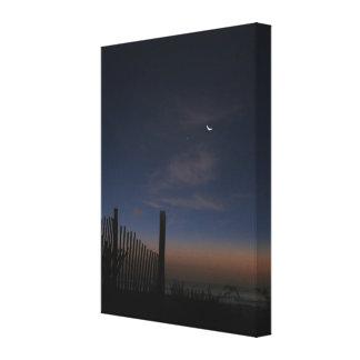 Beach Sunrise Moon and Morning Star Canvas Print