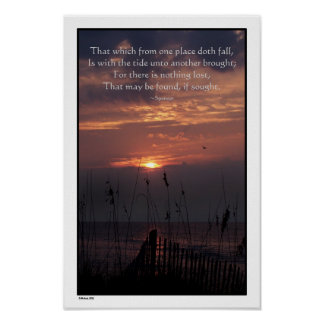"""Beach Sunrise """"Nothing is Lost"""" Poster"""