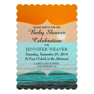 Beach Sunrise Painting in Orange Sky & Teal Water 5x7 Paper Invitation Card