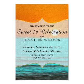 Beach Sunrise Painting in Orange Sky & Teal Water Card