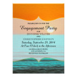 Beach Sunrise Painting in Orange Sky & Teal Water Personalized Invites