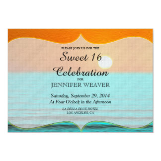 Beach Sunrise Painting in Orange Sky & Teal Water 5x7 Paper Invitation Card