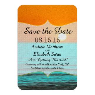 Beach Sunrise Painting in Orange Sky & Teal Water 3.5x5 Paper Invitation Card