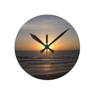 Beach Sunrise Round Clock