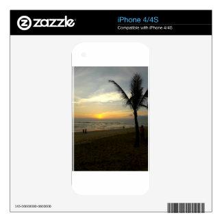 Beach Sunrise with Palm Tree iPhone 4 Skins