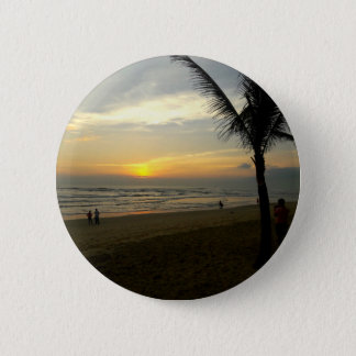 Beach Sunrise with Palm Tree Pinback Button