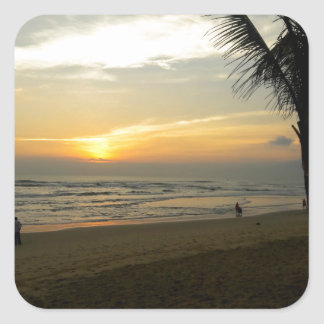 Beach Sunrise with Palm Tree Square Sticker