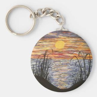 Beach Sunset- Acrylic Painting Basic Round Button Keychain