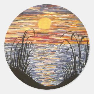 Beach Sunset- Acrylic Painting Classic Round Sticker