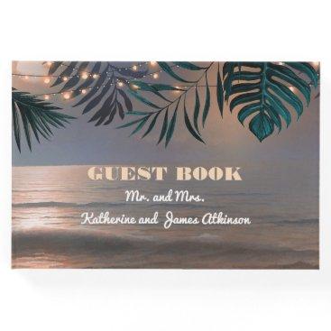 Beach Sunset and Palm Lights Destination Wedding Guest Book