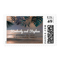 Beach Sunset and Palm String Lights Wedding Postage