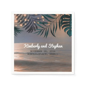 Beach Sunset and Palms Lights Destination Wedding Napkin