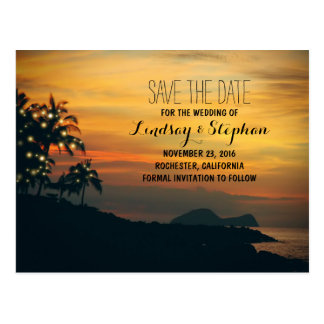 beach sunset and string lights save the date postcard