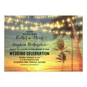 beach sunset and string lights wedding invitation 5