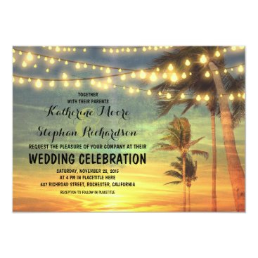 Beach Themed beach sunset and string lights wedding invitation