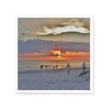 Beach Themed Beach Sunset and White Sand Paper Napkin