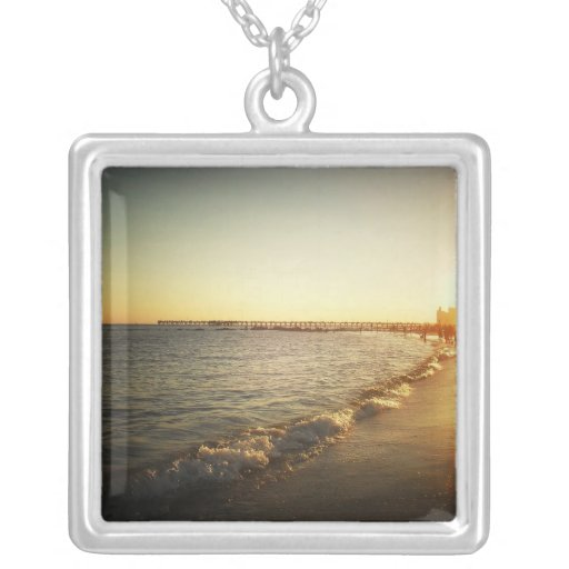 Beach Sunset at Coney Island, Brooklyn Square Pendant Necklace