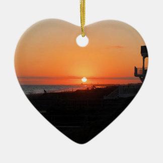 Beach Sunset at Holden Beach NC Ceramic Ornament