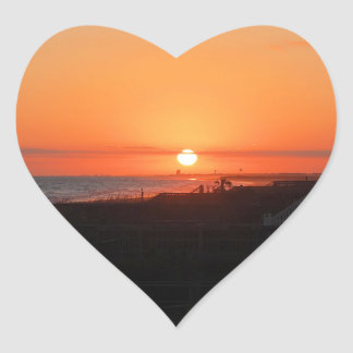 Beach Sunset at Holden Beach NC Heart Sticker