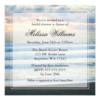 Beach Sunset Bridal Shower Invitations