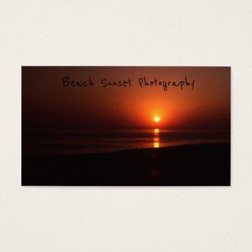 Beach Themed Beach Sunset, Bright Orange Evening Setting Sun Business Card