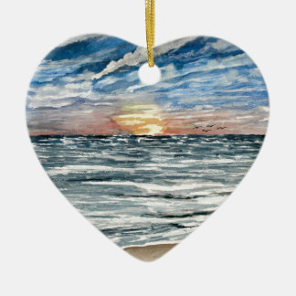 beach sunset ceramic ornament
