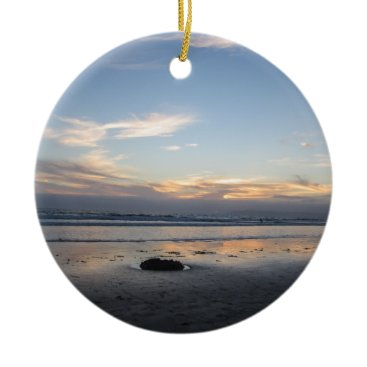 Beach Themed Beach Sunset - Ceramic Ornament