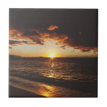 beach sunset ceramic tile