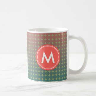 Beach Sunset Coral and Teal Color Blend Monogram Coffee Mug