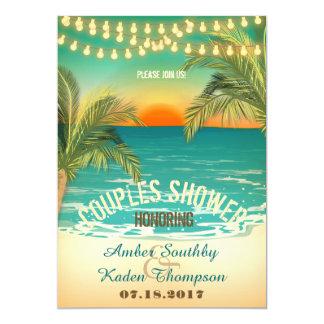 Beach Sunset Couples Wedding Shower Card